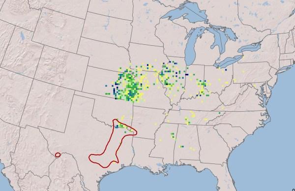 Map of Osage-orange