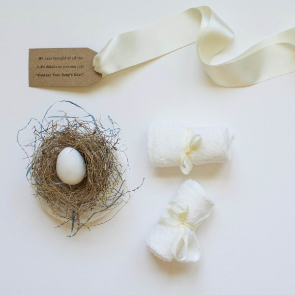 Diminutive Nesting Bundle  Two Baby Hiccup Cloths and a Robins egg soap