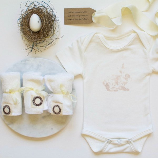 """Petite Nesting Bundle #2   Onesie, Three Washcloths and a Robins egg soap """"Some Bunny Loves You"""""""