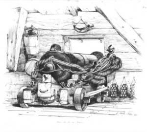"""un cannona denominato """"falcone"""" ben ancorato per attutire il rinculo"""