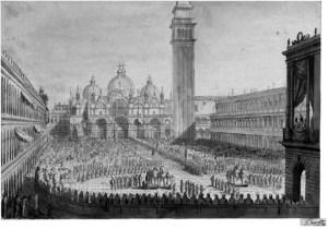 G. Borsato, La festa per il ritorno dei cavalli dalla Francia, 1815, disegno a gesso ed inchiostro, collezione privata, foto Christies