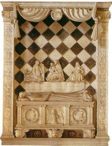 monumento funebre alla figlia quattordicenne Medea, sepolta assieme al suo canarino imbalsamato. il Colleoni è raffigurato in ginocchio.