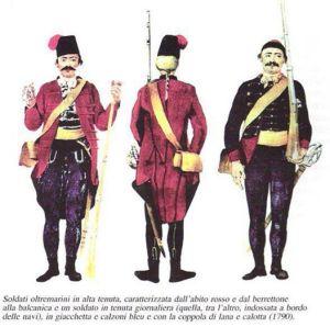 Ultime uniformi deglo Oltremarini. la rossa era per le occasioni ufficiali, la blu per il servizio quotidiano.