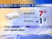 Meteo Venezia: previsioni mercoledì 9 gennaio 2019