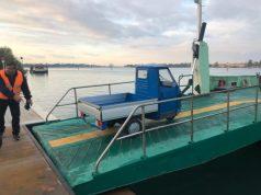 La prima corsa di collegamento Ferry da Sant'Erasmo al Lido