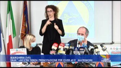 """VIDEO: Zaia: """"vaccini senza prenotazione per Over 60 e matrimoni"""" - TeleVenezia"""