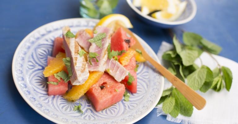 Tonno alla griglia con l'Anguria in insalata!