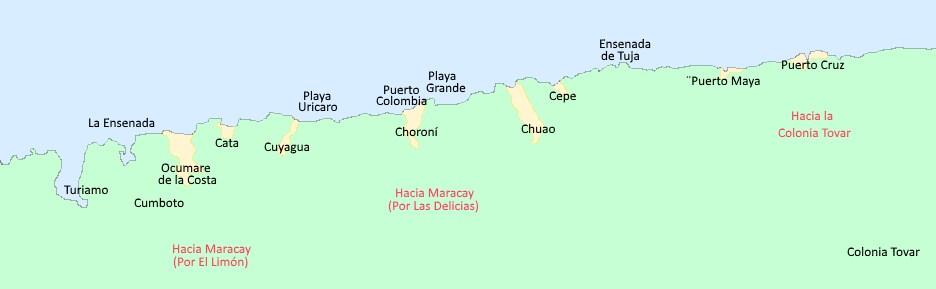 Mapa de las costas de Aragua