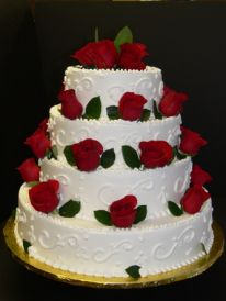 Veniero s 4 Tier Round Cake with Red Roses 4 Tier Round Cake with Red Roses