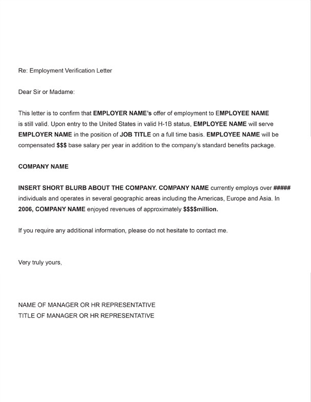 Employment Verification Letter For Us HB Visa  Docoments Ojazlink