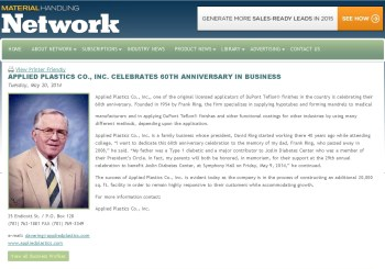 Applied Plastics Co., Inc. Celebrates 60Th Anniversary In Business