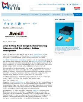 Aved Battery Pack Design & Manufacturing Integrates Cell Technology, Battery_Page_1