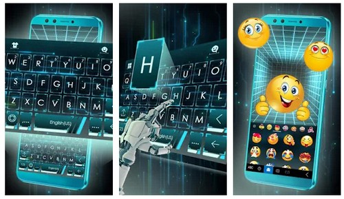 Neon 3d Tech Hologram Keyboard Theme