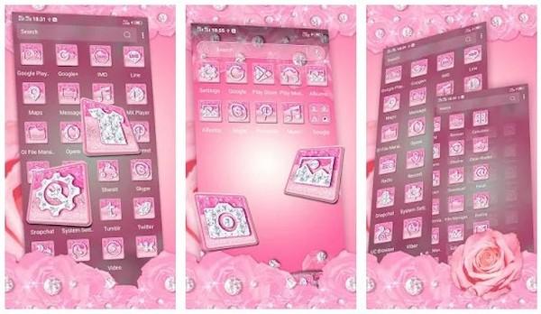 Pink Flower Diamond Launcher Theme