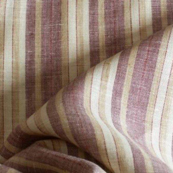 tissu lin rayures beige et bordeaux tissu au metre ameublement