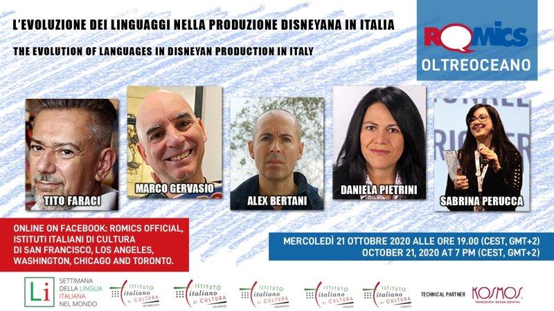 settimana della lingua italiana nel mondo incontro romics con autori disney