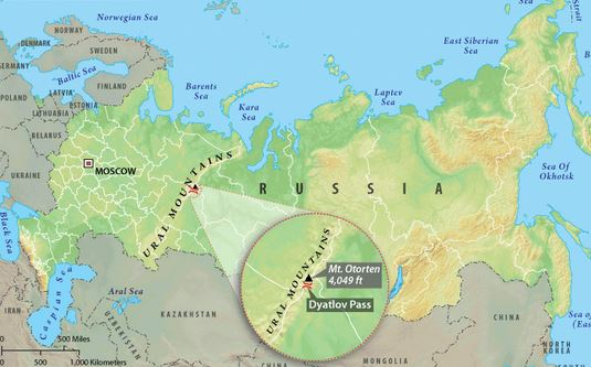 passo dyatlov frozen mappa