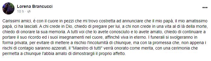 Il ricordo della figlia di Ernesto Brancucci