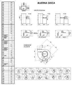 Mjerna skica srednjetlačnog centrifugalnog ventilatora SPV-225-011