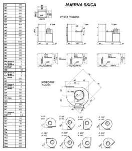 Mjerna skica srednjetlačnog centrifugalnog ventilatora SPV-355-011