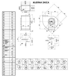 Mjerna skica srednjetlačnog centrifugalnog ventilatora SPV-450-021