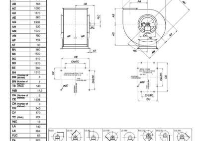 Mjerna skica srednjetlačnog centrifugalnog ventilatora SPV-630-021
