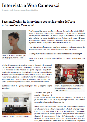 intervista Vera Canevazzi - art consulting, art advisory