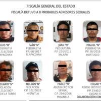 Obtiene FGE acción penal contra 8 probables agresores sexuales y detiene a 7 probables secuestradores, en tan sólo una semana