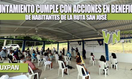 GOBIERNO DE TUXPAN CUMPLE CON ACCIONES EN BENEFICIO DE HABITANTES DE LA RUTA SAN JOSÉ