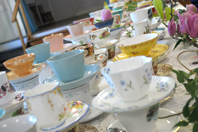 Pretty as a picture - teacups for the inaugural Creative Business Women's High Tea at Newrybar Hall. Photo: Megan Kinninment
