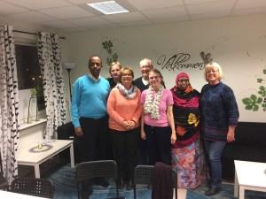 De här var några av de nöjda och glada medlemmarna som deltog på mötet. Från vänster: Mustafe Elmi, Ann Westin, Annakari Berglund, Curth Lindenbrandt, Ann-Marie Persson, Fatouma Mohamed AboudaKer och Margot Grälls-Anjou.