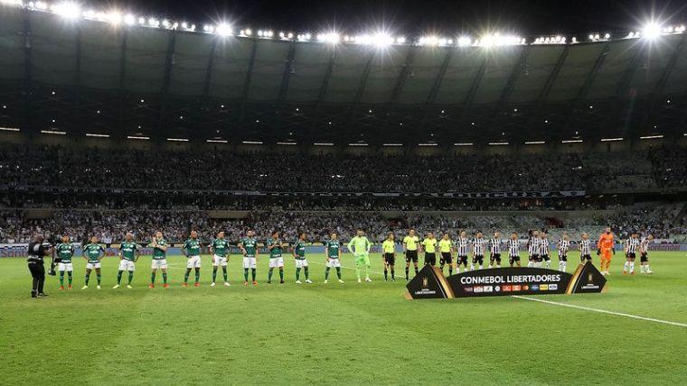 Palmeiras, em jogo contra o Atlético-MG, durante segunda partida válida pelas semifinais da Conmebol Libertadores 2021, no Mineirão.