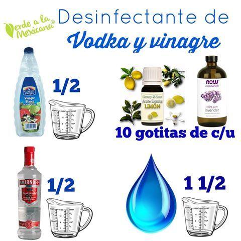 Desinfectante de vodka y vinagre