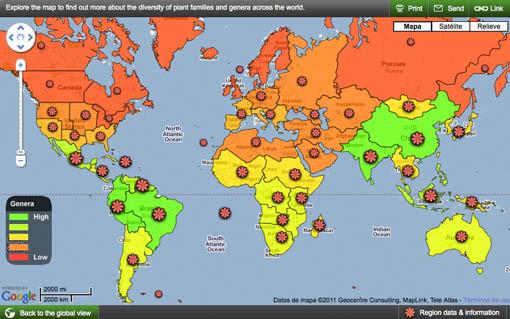 Mapa mundial de las especies vegetales