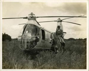 Doñana, imágen antigua, helicoptero en arrozal