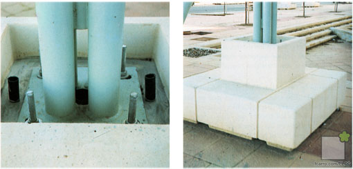 Soportes de las pérgolas -cimentación