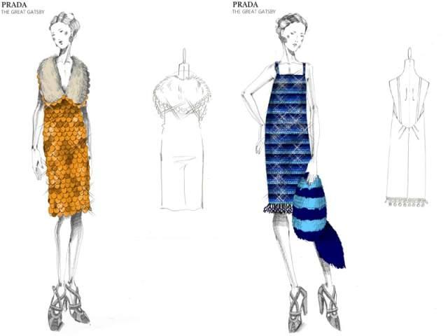 bozzetti dei costumi di Prada per il film Il Grande Gatsby