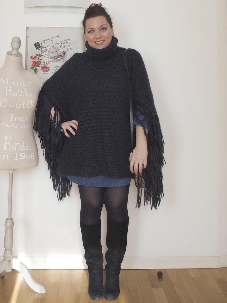 VerdementaBlog_outfit_curvy_abito_denim_Penneys_poncho_frange