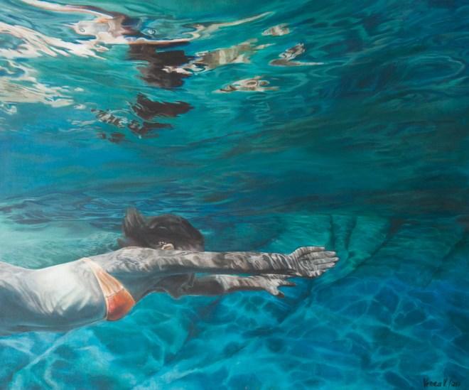 Wasserwelt, Acryl auf Leinwand, 120x100cm