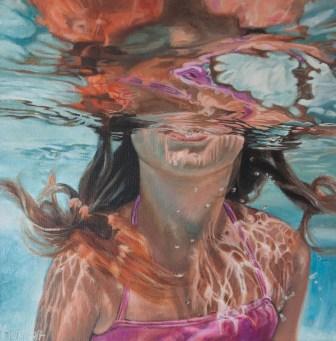 Unterwassermagie, Acryl auf Leinen, 44x44cm, nach einer Fotografie von Leigh Webber