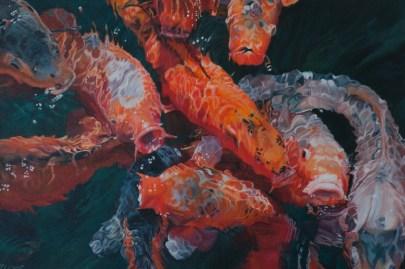 Koi Karpfen - Acryl auf Leinwand, 60x40cm