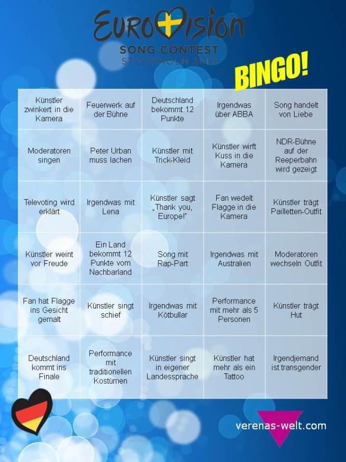 ESC 2016 Bingo Eurovision Song Contest