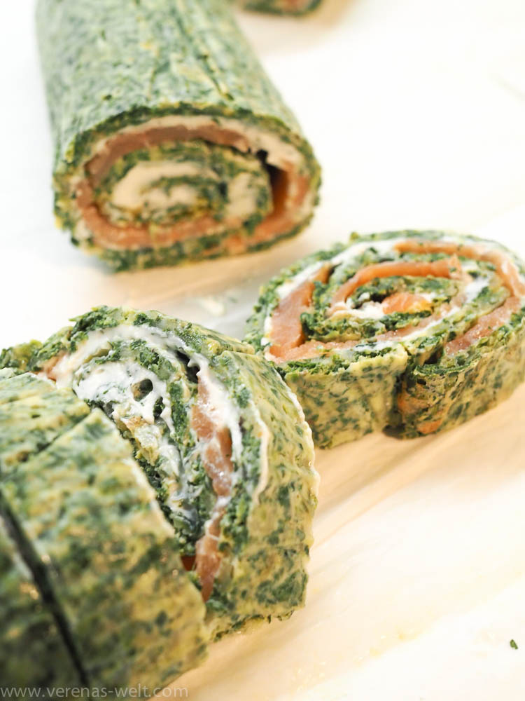 Spinat-Lachs-Rolle mit Kräuter-Frischkäse