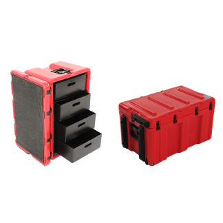 4-Drawer-Mobile-Medical-Case-(Red) -- MC-4D-RD