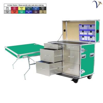 48 Workstation w Refrigerator 3 Drawers & Table (MW-48R-GR)