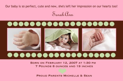 Little Ladybug Designs Baby Girl Birth Announcement
