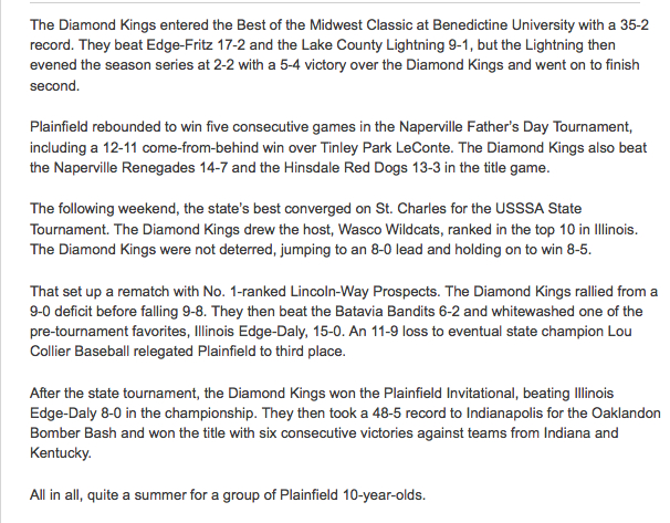 Plainfield Diamond Kings 10U Season 2012