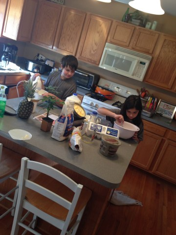 kids making banana bread
