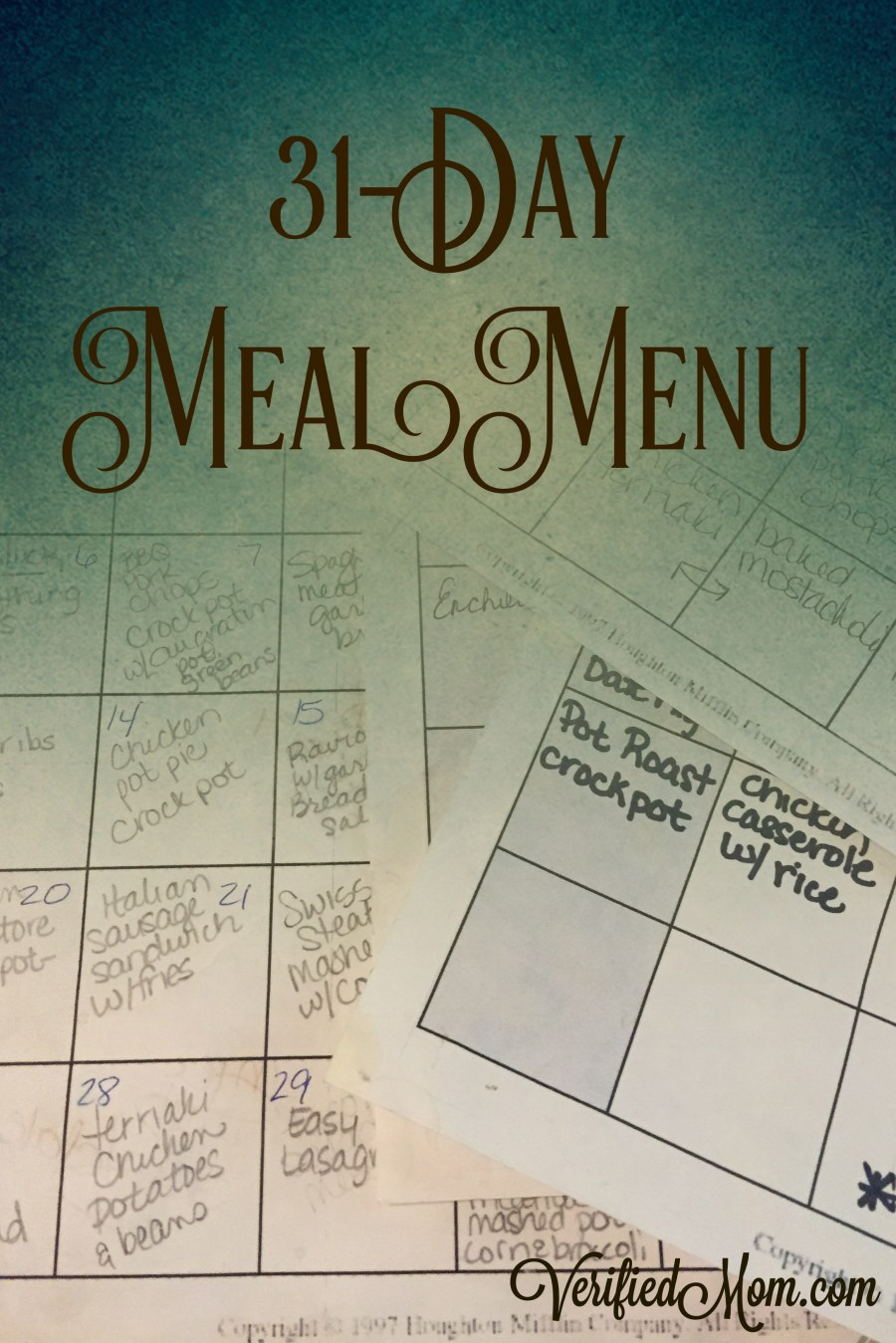 31 Day Meal Menu