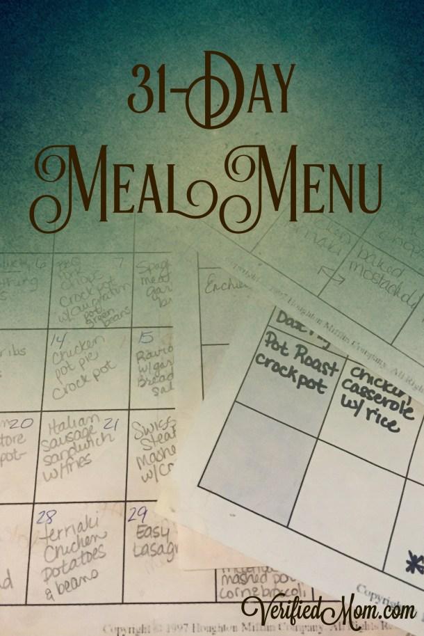 31 Day Meal Menu